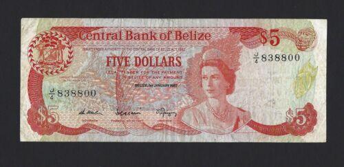 BELIZE $5 Dollars 1987, P-47a, Scarce Date J/4 838800, QEII Type