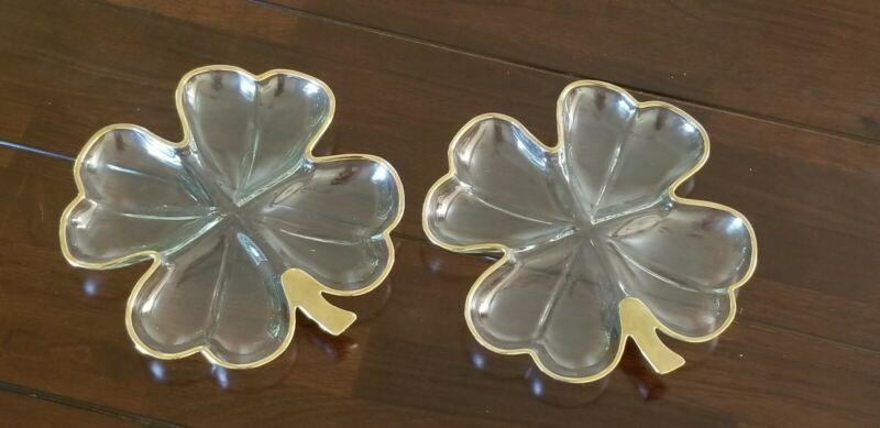 VTG SHAMROCK 4Leaf Clover Clear Glass Divided Candy Nut Dish Appetizer Gold Trim