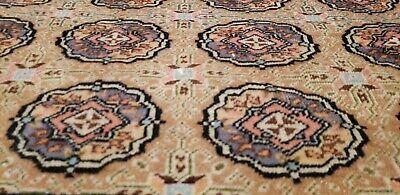 Bohemian 1960-1980s Vintage Wool Pile Rose Medallion Hereke Rug 5x7ft
