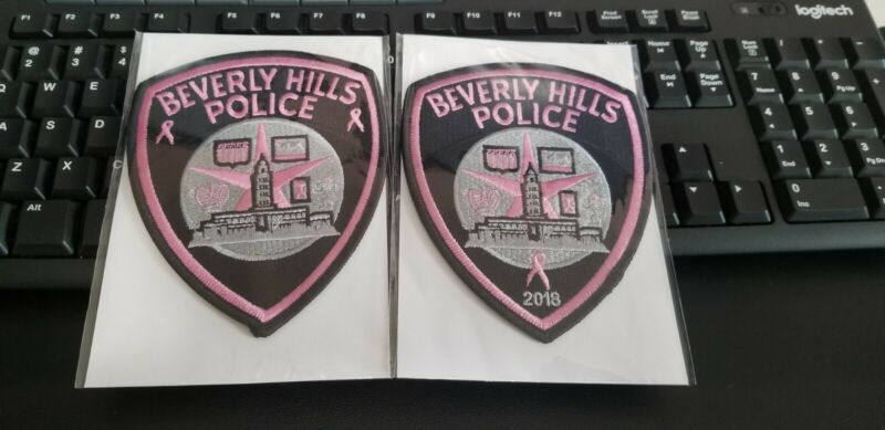 2 Beverly Hills California Police Patches PINK Breast Cancer Awareness