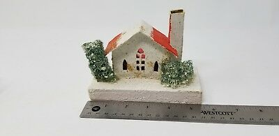 Vintage Japan Putz Cardboard Mica Snow Village White House with Loofa Trees
