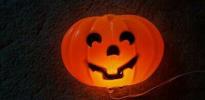 Vintage Halloween Pumpkin Jack O Lantern Light Blow Mold Plastic 2-Sided Hanging