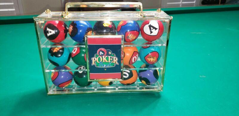 Crown Games Poker Pool Billiard Ball Complete Set, Rare HTF Card Suit