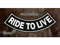 "RIDE TO LIVE Banner style Back Patch Bottom Rocker for Biker Veteran Vest 10/"""