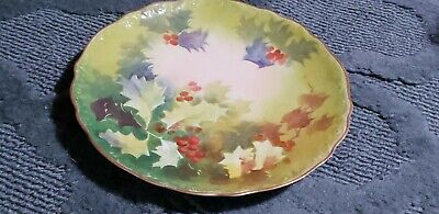 A & D Limoges France Plate Hand Painted Christmas Holly Berry Plate