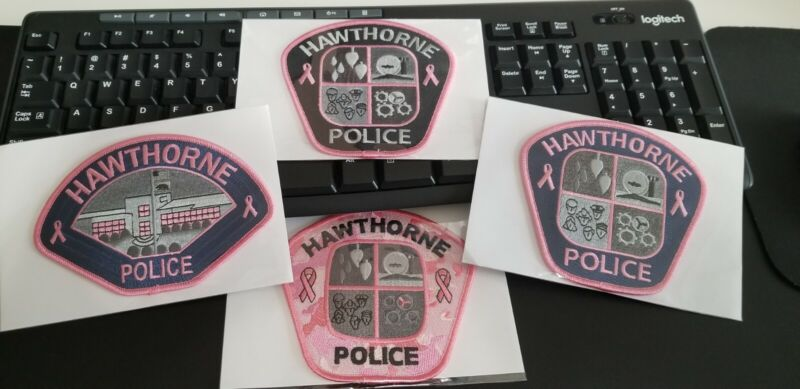 4 Hawthorne California Police Patches PINK Breast Cancer Awareness