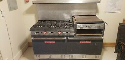 Vulcan Commercial Gas 6 Burner Range W 2 Ovens And Metal Overshelf Griddle