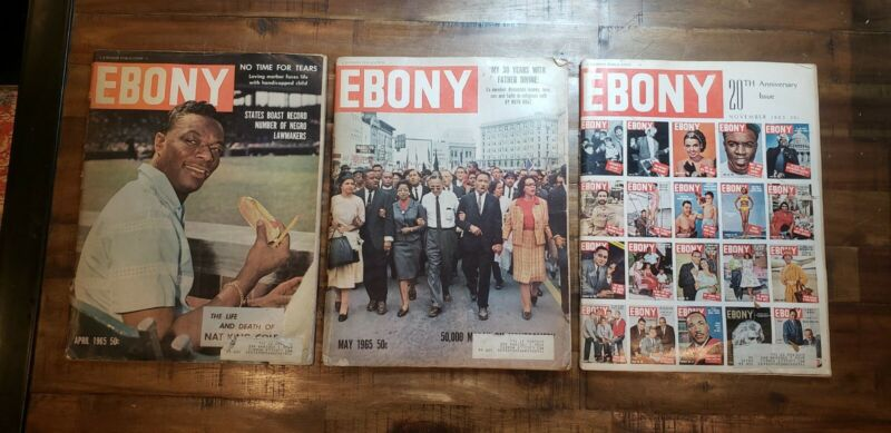 Vintage lot of 3 1965 Ebony Magazines. MLK 1965 March on Montgomery Alabama.