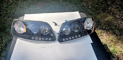 Blk 1997-2003 Ford F150 97-02 Expedition LED Halo Projector Headlights Headlamps