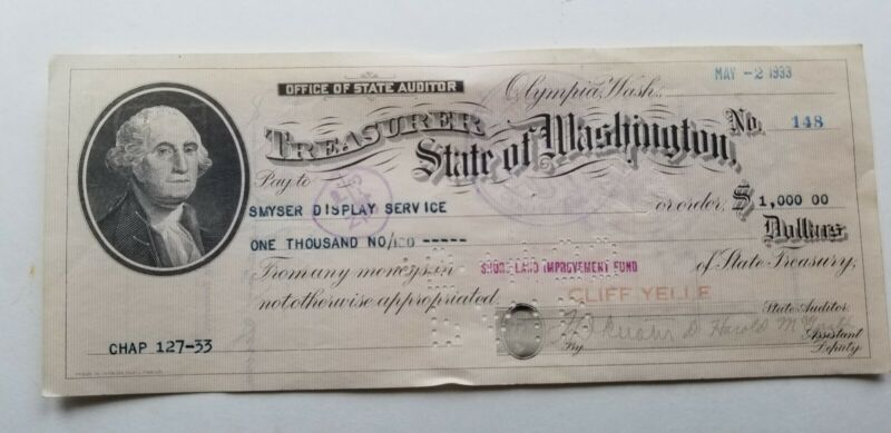 VINTAGE WASH.STATE CAPITOL THURSTON CO. OLYMPIA AUDITOR TREAS. GOV CHECK 1933