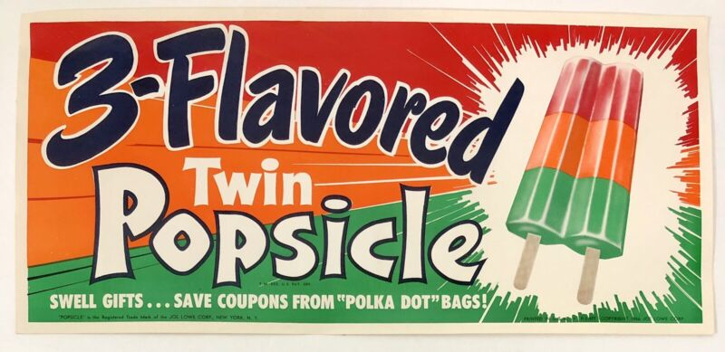 Vintage 3 Flavored Twin Popsicle Ad Litho Paper Sign 1956 Retro Advertising