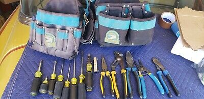 Lot Of 14 Used Klein Tools With Gator Professional Tool Belt W Shoulder Strap.