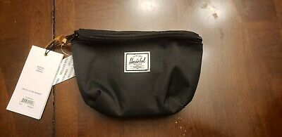 Herschel Fanny Pack, Waist Bag, Black, red stripe interior, New with Tags
