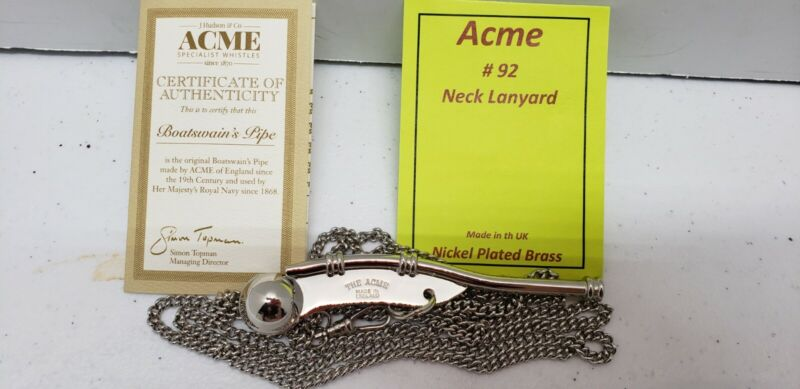 Acme Boatswain Bosuns Pipe Nickel-Plated High Pitched Notes Silver Whistle.