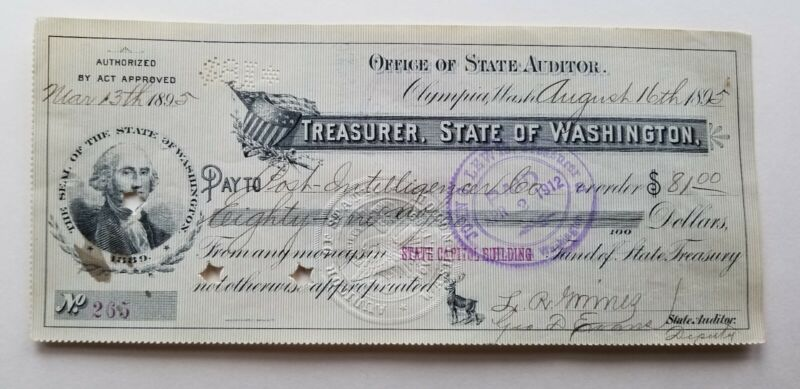 WASH.STATE CAPITOL OLYMPIA AUDITOR TREAS. GOV CHECK 1895 POST INTELLIGENCE  CO