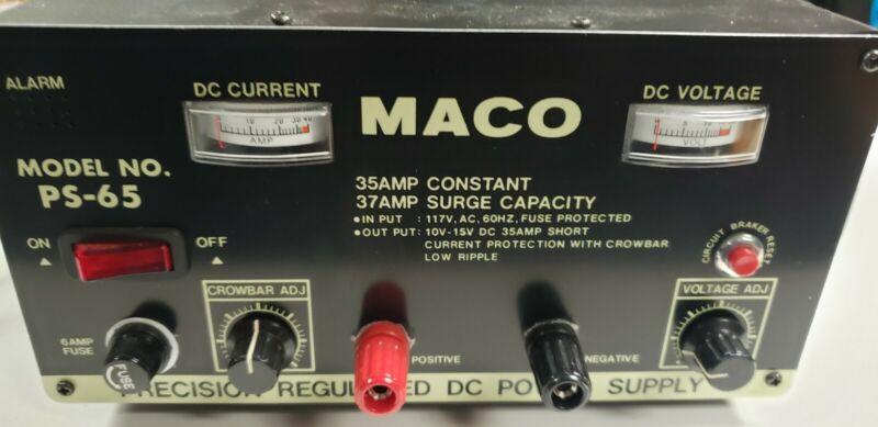 MACO Model No. PA-65, precision 35amp/37amp Surge Regulated DC Power Supply.