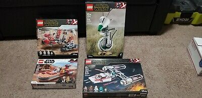 Lego Star Wars Lot Of 4 D-O 75278 Y-wing 75249 Landspeeder pasaana Speeder...
