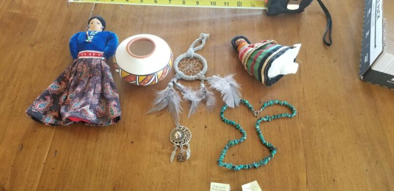 Native American Hand Made Lot DREAMCATCHER DOLL POTTERY JEWELRY
