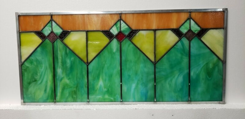 ANTIQUE AMERICAN STAINED GLASS WINDOW  ARCHITECTURAL SALVAGE