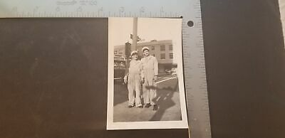 1948 Black & White Photo 2 Mechanics Posing Bus Line Stop Sign Cars Street Sign