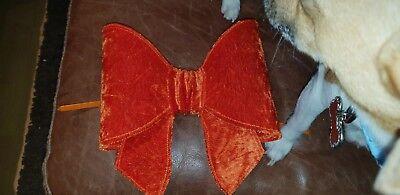 Orange Christmas Tree Velvet Bow Decorations (large) 8