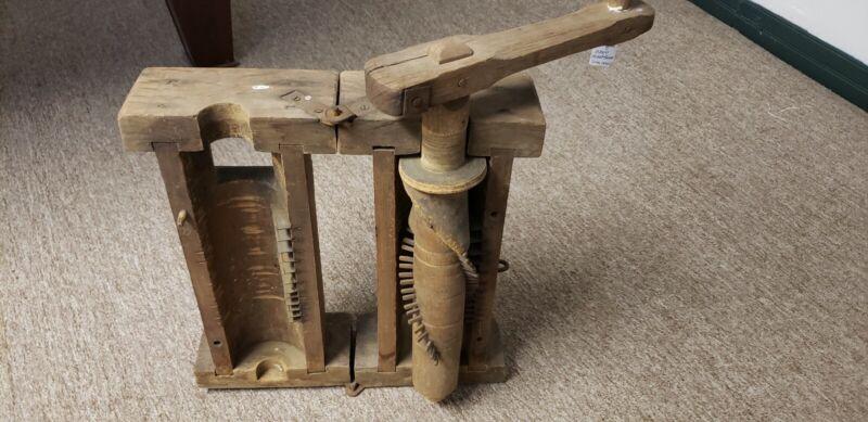 Antique Wood Meat / Tobacco Grinder