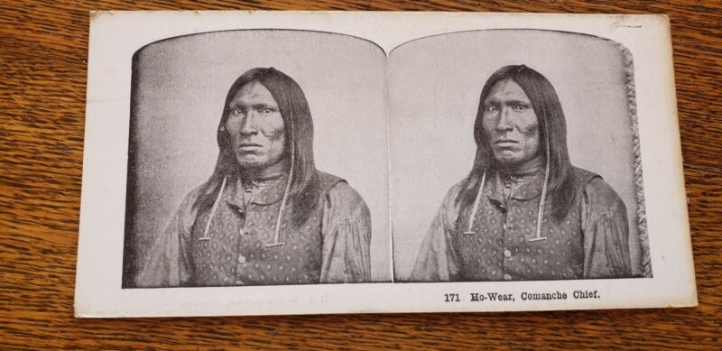 Old indian Native ho-wear comanche chief American Stereoview Card