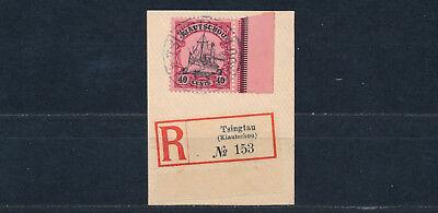 Kiautschou 40 Cents Yacht 1905 Michel 23 Briefstück Einschreibezettel (S14616)