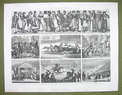 LIFE & Fashion 19th C Russia Skating Sword Dance Horse Race -1870s Antique Print