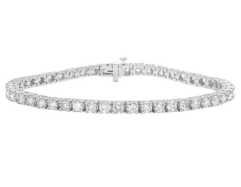 Real 14k White Gold 4mm Tennis Solitaire Genuine Diamond Bracelet 9 1/10 Ct 8""