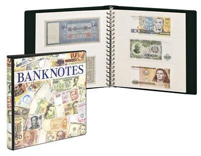Banknotenalbum m. 10 Klarsichthüllen [Lindner 3701W] mit weißen Zwischenblättern