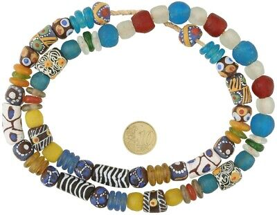 African trade beads mix Krobo Fancy recycled glass powder handmade Ghana jewelry