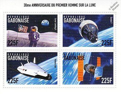 APOLLO XI Moon Lunar Landing II/Gemini 7/Hubble Space Stamp Sheet (1999 Gabon)