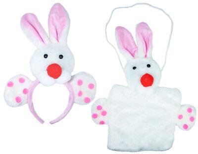Süßes Hasen Kostüm Set Ohren Haarreif Handtasche Fasching - Rosa Clown Kostüme