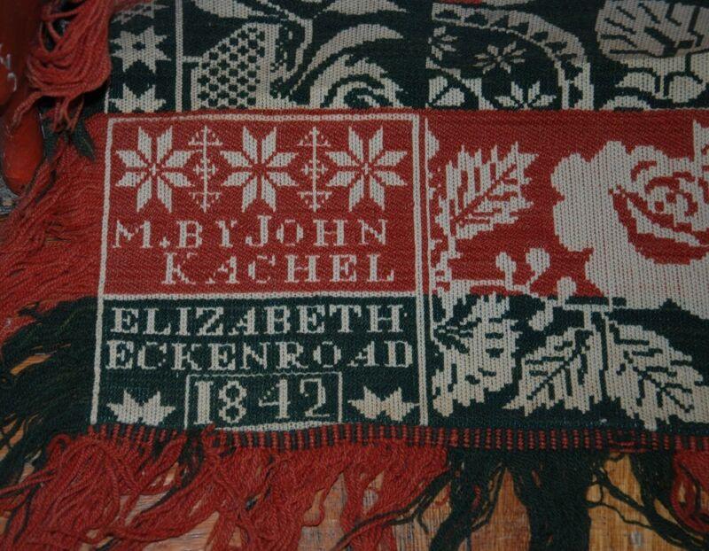 ANTIQUE PA BERKS CO WOOLEN COVERLET SIGNED JOHN KACHEL 1842 ELIZABETH ECKENROAD