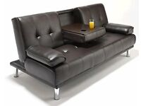 BRAND NEW- Manhattan Click Clack Leather Sofa Bed Sofabed - SAME DAY DELIVERY!
