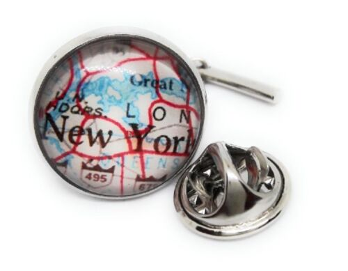 NEW YORK CITY VINTAGE MAP TIE TACK / LAPEL PIN