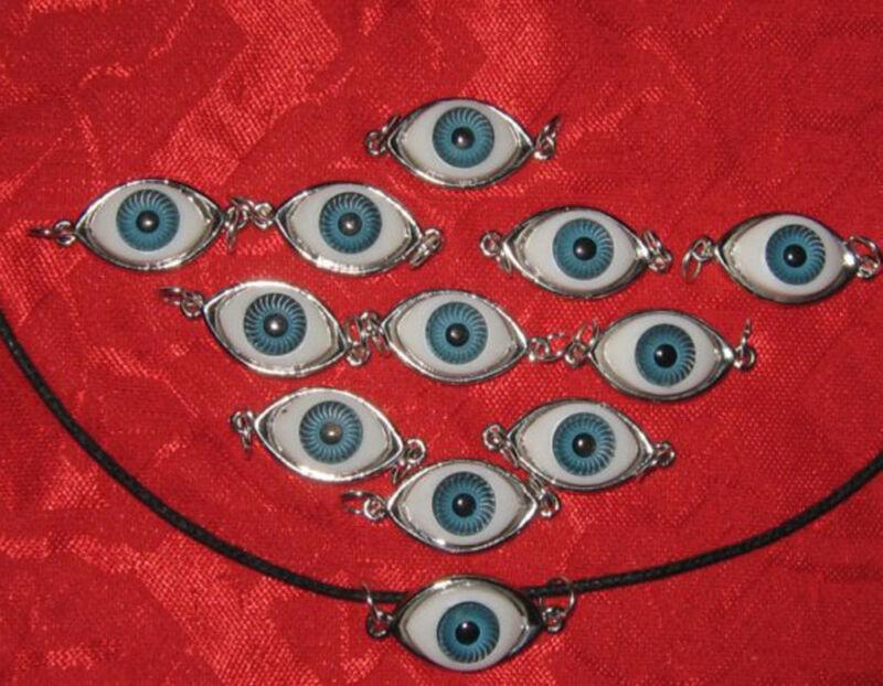 WHOLESALE LOT OF A DOZEN BLUE EVIL EYE EYEBALL PENDANTS CHARMS NECKLACES