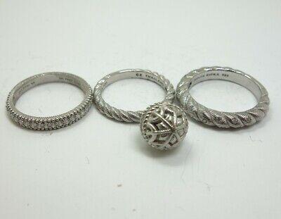 Lot 3 Judith Ripka Diamonique Cubic Zirconia Sterling Silver Rings Size 10-11