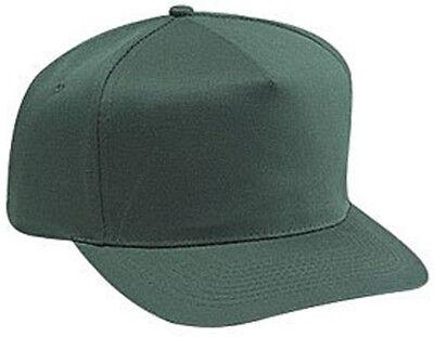 Cotton Twill Five Panel Pro Style Caps, Dark Green - Pro Style Cotton Twill Cap