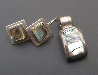 Sterling Silver Mexico Mexican Abalone Earrings Pendant for Necklace Set