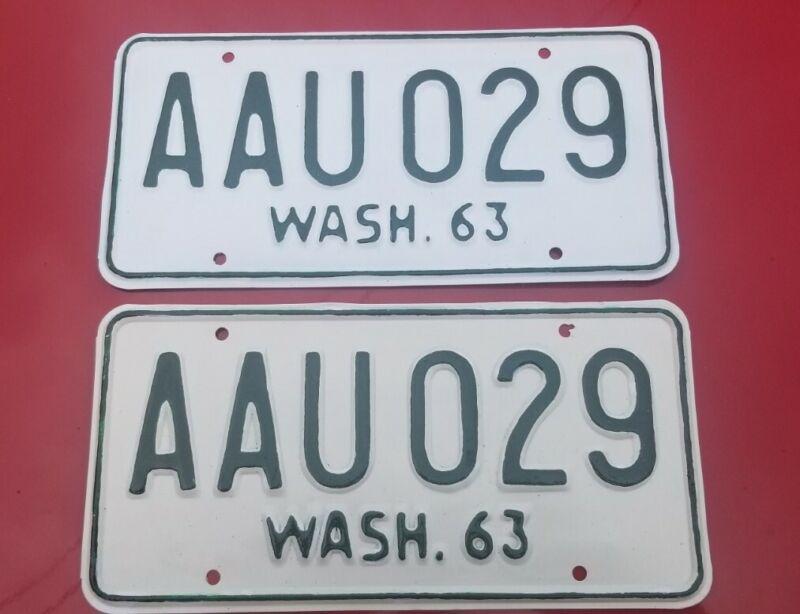 VINTAGE BASE PLATES 63-66  AAU 029 WASHINGTON LICENSE PLATE SET CLASSIC WASH.63