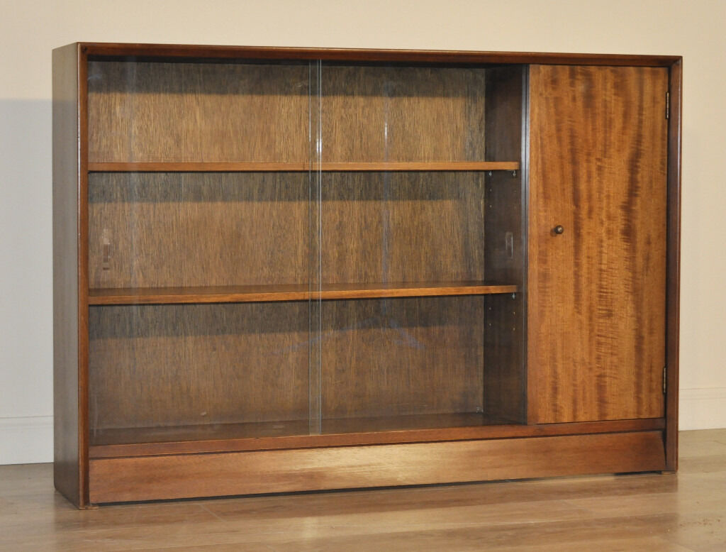 Retro herbert gibbs long low teak glass sliding door bookcase cabinet cupboard