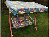 Kids two seat swing with canopy