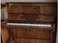 Free piano, burr walnut case, with £50 contribution to professional removal cost