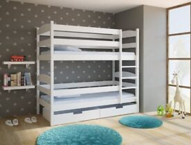 White wooden bunk bed with drawers