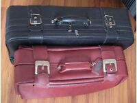 2 Leather travel suitcases luggage