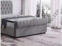 Smart Furniture KING SIZE PLUSH VELVET SLEIGH OTTOMAN STORAGE BED FRAME w OPT MATTRESS