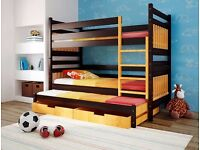 brown orange Triple Wooden Bunk Bed for Children Kids Solid Wood