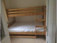 Triple bunk double and single wooden memory foam mattress